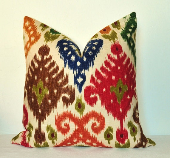 Pillow Cover - Decorative Pillow - Throw Pillow - Toss Pillow - Sofa Pillow - Ikat - 20x20 inch - Red - Green - Blue