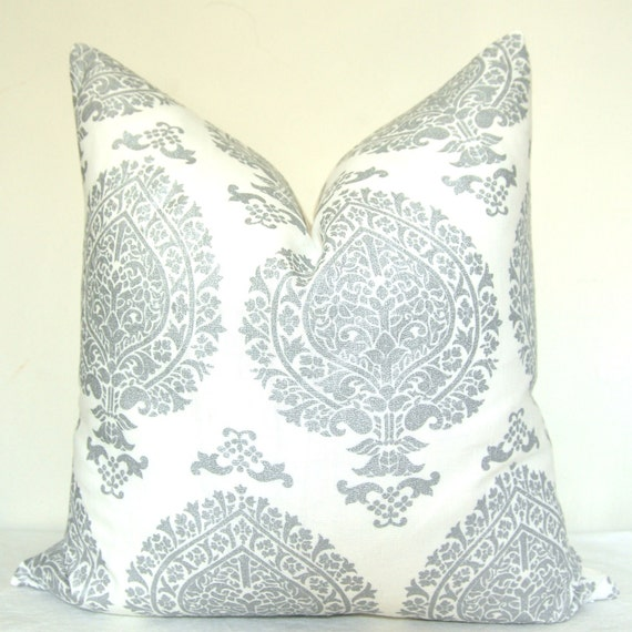 Pillow Cover - Throw Pillow - Toss Pillow - Accent Pillow - Silver - Paisley - 20x20 in - Linen - Metallic