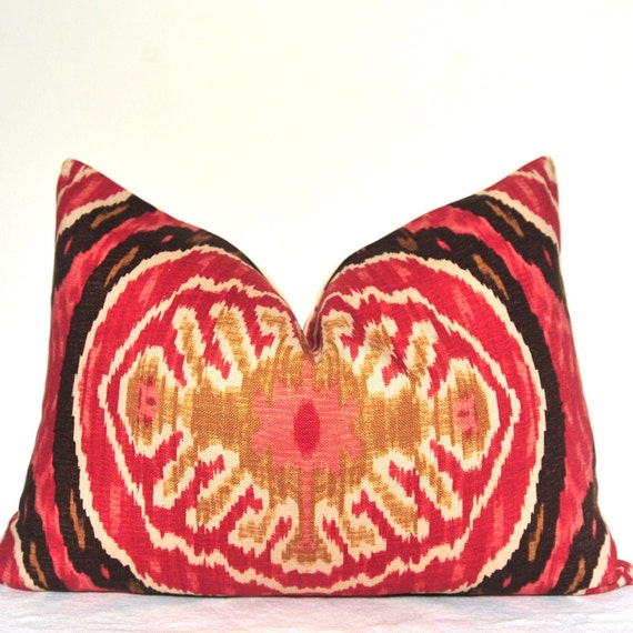 Handmade Ikat Throw Pillows : Duralee Red Ikat Handmade Pillow Pillow Cover Decorative