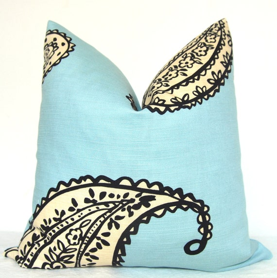 BOTH SIDES - Pillow Cover - Throw Pillow - Sofa Pillow - Toss Pillow - Blue - Taupe - Paisley - 17x17 inch