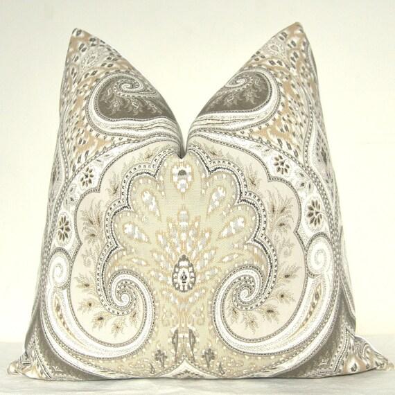 Pillow Cover - Decorative Pillow - Throw Pillow - Sofa Pillow - Kravet - 17x17 in - Gray - Taupe