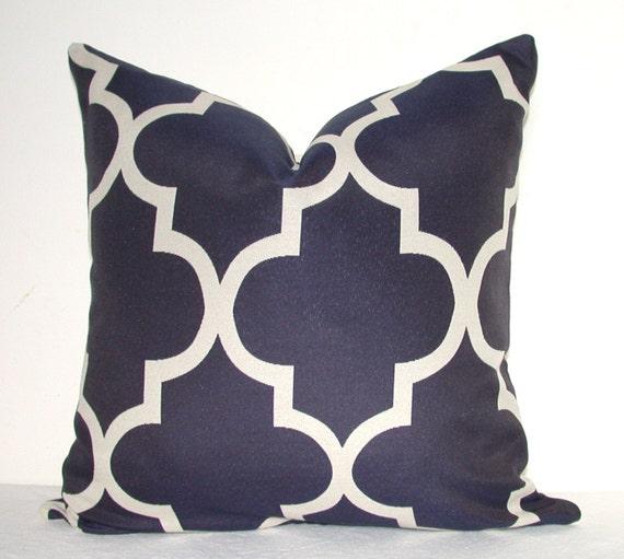 Pillow Cover - Decorative Pillow - Throw Pillow - Sofa Pillow - Geometric - Navy -On BOTH SIDES - 16x16 in - Lattice - Trellis