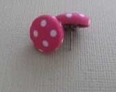 Hot Pink and White Polka Dot Bitty Button Earrings