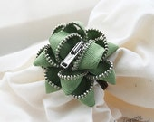 Zipper Hairband - Olive with Silver Teeth - Fall Collection