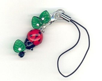 Red Lady Bug and Leaves Cell Phone Charm or Zipper Pull