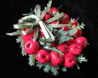 1/12 Scale (Dollhouse) Red Apple Wreath with Sage Green Satin Bow - Indoor Fairy Garden