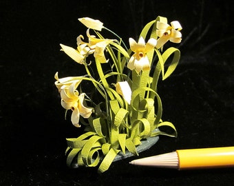 1/12 Scale (Dollhouse) - Yellow Day Lilies Plant - For Your Own Garden Summertime Florals - Indoor Fairy Garden