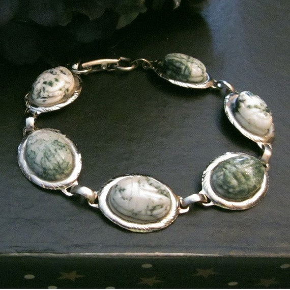 Green Tree Agate Carved Scarab Cabs in a Vintage Link Bracelet