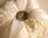 White and gold Italian corded lace ring pillow