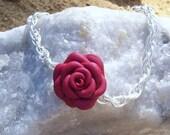 Bracelet Polymer Clay Red Rose