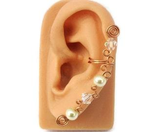 Ear Cuff Copper Swarovski Crystal Pearl
