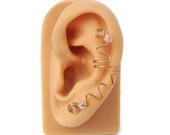 Ear Cuff Copper Swarovski Crystal Squiggly