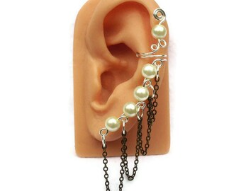 Ear Cuff Silver White Pearl Antique Gold Chain