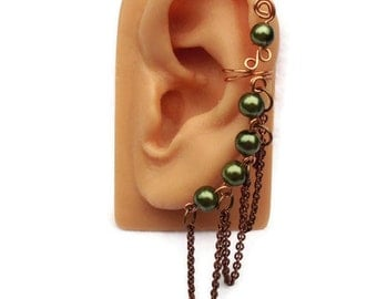 Ear Cuff Dark Green Pearls Copper Chain