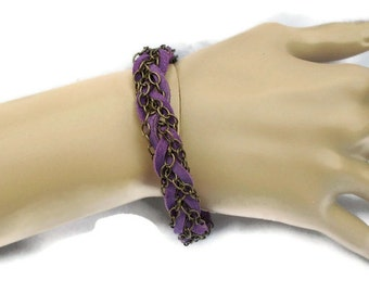 Bracelet Purple Suede Chain