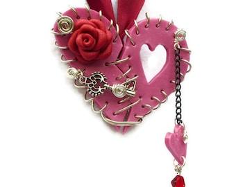 Necklace Broken Heart Magenta Polymer Clay Rose Silver Key