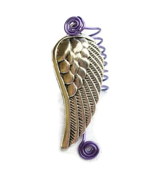 Large Dreadlock Loc Braid Jewelry Grape Purple Silver Wing