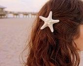 Medium white starfish barrette