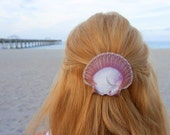 Purple and white shell barrette