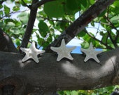 Set of 3 white knobby starfish barrettes