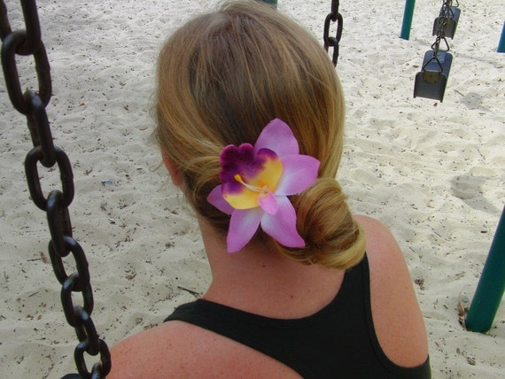 pink and purple orchid barrette