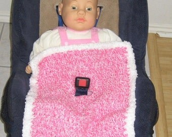 Hot Pink with White Baby Afghan Car Seat Cover Blanket Girl Handmade Crocheted CROCHET