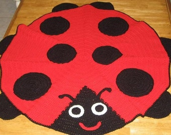 Free Crochet Ladybug Blanket Pattern : Made to Order Boy or Girl Noahs Arc Ark Baby Afghan