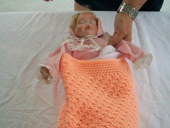 Peach Crochet Baby Doll Cocoon Papoose Preemie Newborn Photo Prop Crocheted Handmade New