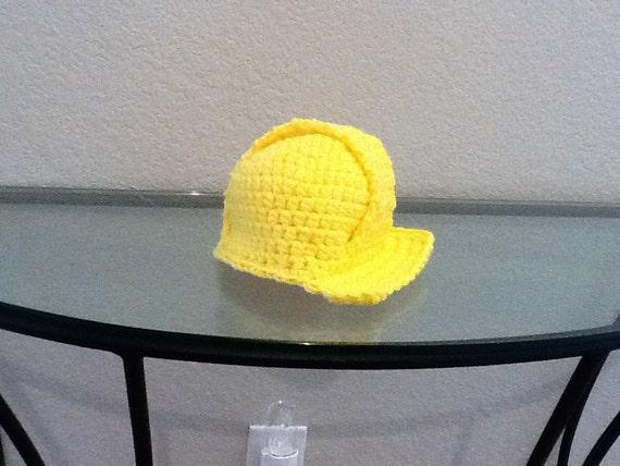 Bright Yellow Construction Worker Builder Hardhat Style Hat Child Toddler Crochet Handmade Crocheted New