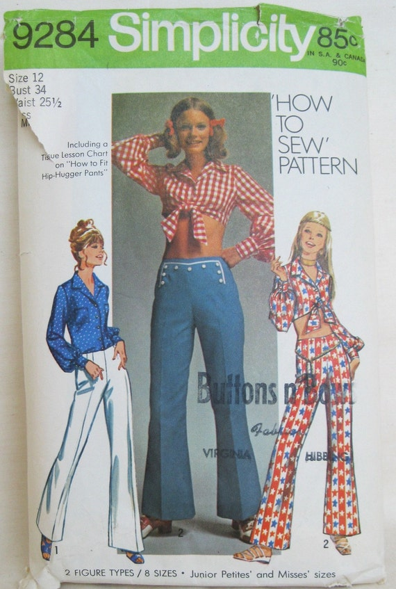 Vintage 1970s Hip Hugger and Midriff Shirt Pattern Size S