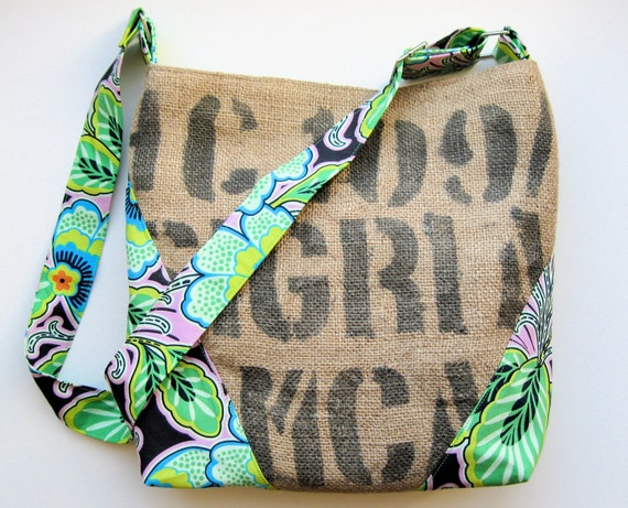 Upcycled Coffee Sack Cross Body Shoulder Bag - Vibrant Floral