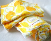 Dish Towel/Cloth Set - Alexander Henry Juicy Lemons and White Cotton Chenille