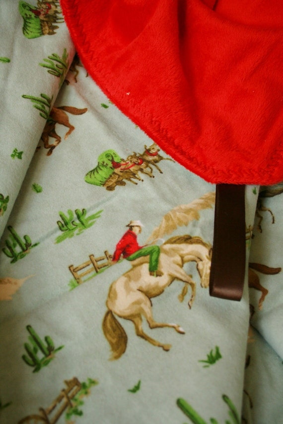 Western Cowboys Flannel and Bandanna Red Minky Blanket