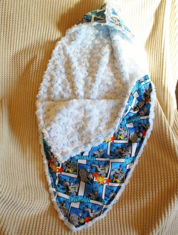 Hooded Blanket Swaddle - Batman Superfriends and Ice Blue Minky Swirl