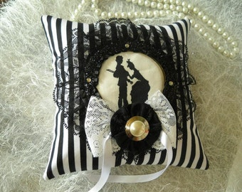 Victorian Ring Bearer Pillow- striped Black and White with Romantic Silhouette from Lee Jofa - Diamond Baratta