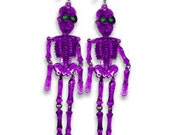 Neon Mr. BonesJangles Skeleton Earrings Purple