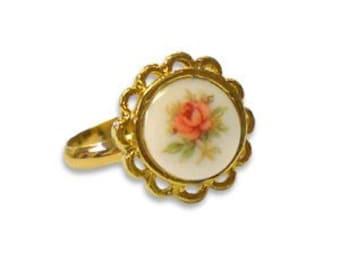 Delicate Vintage Floral Rose Ring