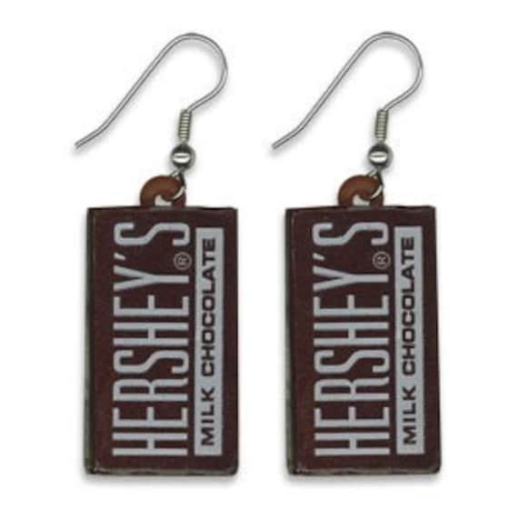Hershey Chocolate Bar Novelty Charm Food Candy Earrings