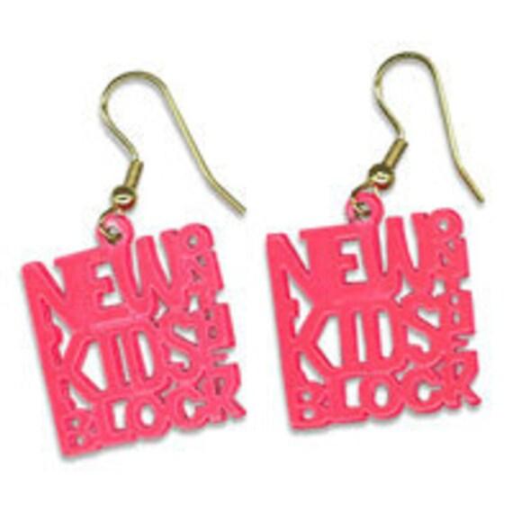 Vintage NKOTB New Kids On the Block Neon Pink Earrings