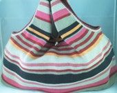 Sweater Purse- Striped Pink, Black, Khaki, Orange and Red