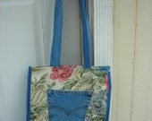 Reusable Shopping Bag- denim, cotton and polyester
