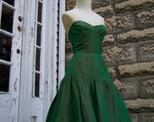 1950s Green Taffeta Cocktail Dress