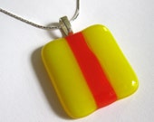 bright yellow and  red striped fused glass pendant  - Surfer