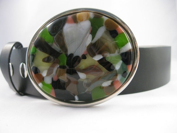 womens belt - Firefly, beautiful belt, green, brown, salmon, black, handmade, fused glass belt buckle, leather belt