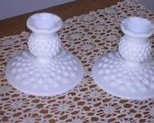 Vintage Milkglass Hobnail Candleholders, mint condition