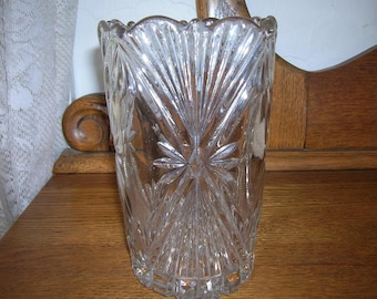 Vintage Cutglass Vase, Mint, Square on Top, Round on Bottom, 1970s, Clear Glass