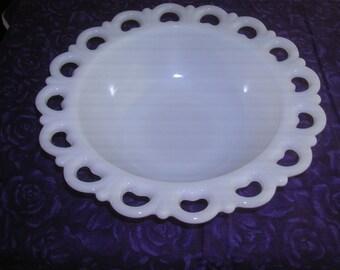 Lacey, Heart Trimmed,Vintage, Milkglass Bowl