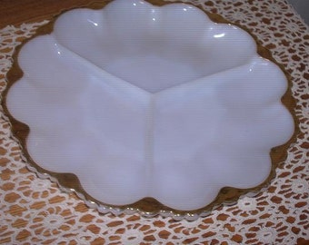 Round, 3 Sectioned, Milkglass Plate with Gold Edging