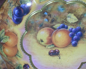 1971, Daher Serving Bowl Tin, Fruit Design, Made in England, Decorated Ware, 10 1/4 in wide x 1 3/4 in deep