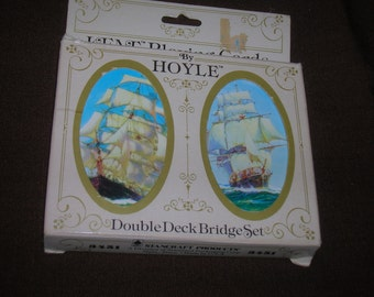 1970s, Hoyle, Double Deck Bridge Set, Ships, In Original Package, Kent Playing Cards